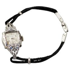 Swiss Benrus Ladies Cocktail Watch with Diamond Chips