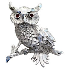 MONET Owl Pin Textured Silver Tone with Red Rhinestone Eyes