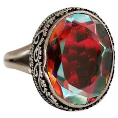 Sterling Ring with Mystic Quartz Stone, Beautiful Range of Colors