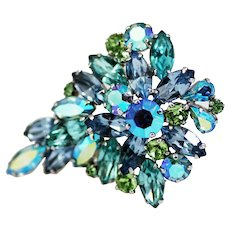 Weiss Rhinestone Brooch Pin – Blue and Lavender Sparkle