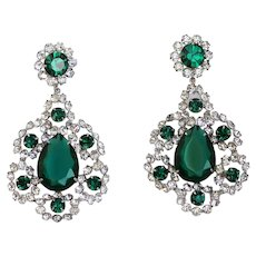 KJL Kenneth J Lane Emerald and Diamanté Crystal Clip Earrings