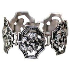 Victorian Sterling Silver Kissing Cherubs Angels Bracelet