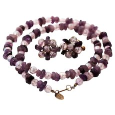 Miriam Haskell Amethyst and Purple Aurora Borealis Beads Signed Necklace and Earrings