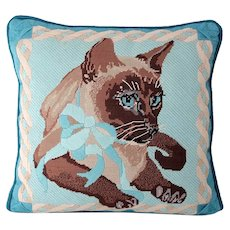 Vintage Needlepoint Gray Brown Kitten Cat Pillow