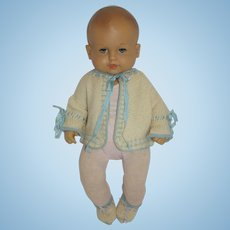 Cream with Blue Trim Knit Sweater and Booties - Dy-Dee, Tiny Tears, etc