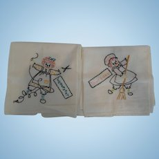 Vintage Hand-Embroidered Raggedy Ann Hand Towels