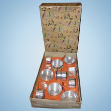 1940's Aluminum Child's Kitchenware set - orig box - 12 pieces