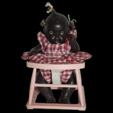 Japanese All Bisque Black Baby in Walker