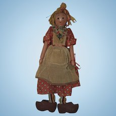 Unusual 1930-40's Wooden Scarecrow Doll