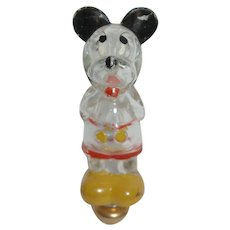 Vintage Glass Mickey Perfume Bottle with Glass Stopper