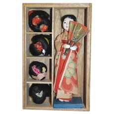 Japanese Gofun Doll with Five Wigs in Original Wooden Box