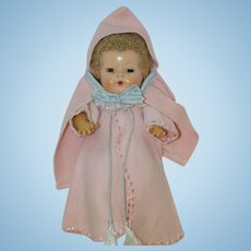 """1940's Pink Embroidered Robe and Hooded Cape for 11"""" Dy-Dee, Tiny Tears, etc"""
