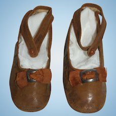 Antique Brown Leather Shoes with Silk Bow and Metal Buckle - for large doll