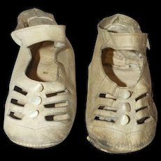 Vintage White Leather Mary Janes for a large doll