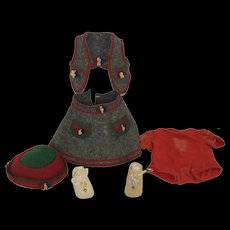 """1930-40's Wool Outfit for 20"""" Compositon Doll"""