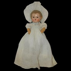 "1940's Light Blue Long Baby Dress and matching Bonnet - for 11""-12"" Dy-Dee, Tiny Tears etc"