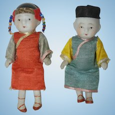 """Pair of All Bisque 4"""" Asian Dolls - all original - Made in Japan"""