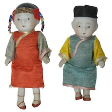 "Pair of All Bisque 4"" Asian Dolls - all original - Made in Japan"