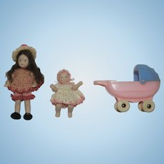 Artist Made Porcelain Dollhouse Dolls in Petite Knit Outfits