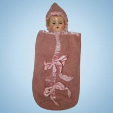 "1940's - 50's Bunting and Hood for a 13"" - 15"" Baby Doll such as Betsy Wetsy, Tiny Tears"