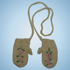 1950's Embroidered Doll Mittens