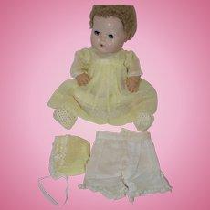 """1930's  - 40's Dress, Bonnet, Underslip, Panties, Booties - for 16"""" composition Baby"""