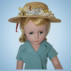 "1950's Straw Hat with Flowers and Red Velvet Ribbon Trim - for 12"" - 14"" Doll"