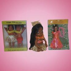 Vintage Hawaiian Dolls - Three MIP