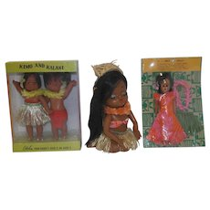 Vintage Hawaiian Dolls - Three MIP