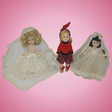 "Three 1950's 8"" Hard Plastic Dolls - M.A. Bride, Ginger Bride, Virga Ice Skater"