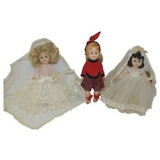 "Three 1950's 8"" Hard Plastic Dolls - M.A. Bride, Ginger Bride, Virga Ice Skater"