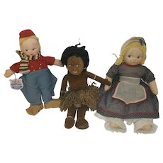 Three 1940-50's Cloth Dolls - Mollye Dutch Boy, Nora Welling Hawaiian Doll, Krueger Doll