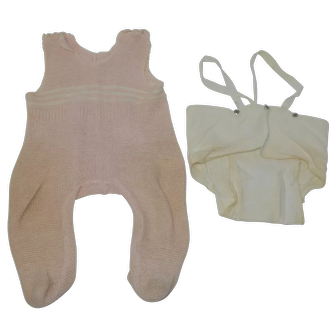 "1950's German Schildkrot Pink Knit Outfit and Under Clothing for 18"" Baby Doll"