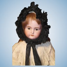 Victorian Child's Ruffled Mourning Bonnet