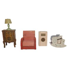 1930's Strombecker Pink Radio, Walnut Radio, Shoo-Fly, side lamp, and Red Living Room Chair