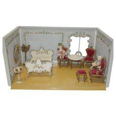 Spielwaren German Room Box, 11 pieces of Spielwaren Furniture, and Erna Meyer Doll