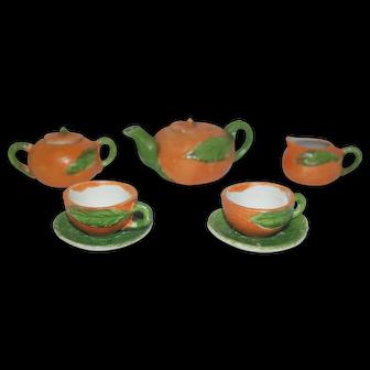Vintage Doll Orange Tea Set for Two - Japan