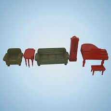 1930's Wooden Dollhouse Furniture - Piano and Stool, Grandfather Clock, Couch, Side Chair, Table