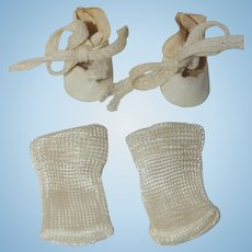 "1950's White Leatherette Front Tie Shoes and Socks for 8"" Doll"