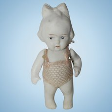 """Japan 3"""" All Bisque Doll in original Pink Mesh Bathing Suit"""