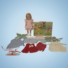 "1940's 14"" Composition doll with Cinderella Trunk and Wardrobe"