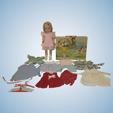 """1940's 14"""" Composition doll with Cinderella Trunk and Wardrobe"""