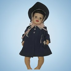 "1940's Navy Blue Coat, Matching Bonnet, Matching Purse - for 18""-20"" Doll"