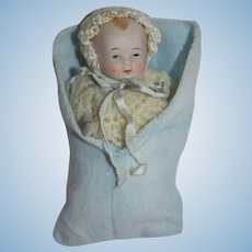 """All Bisque 4"""" Baby in Knit Outfit and Blue Bunting - Made in Japan"""