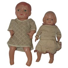Two Early Jointed Celluloid Dolls - made in Japan
