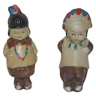 """All Bisque 4"""" American Indian Pair - Japan"""