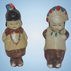 "All Bisque 4"" American Indian Pair - Japan"