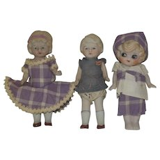 "Three All Bisque 6"" Dolls - Japan"