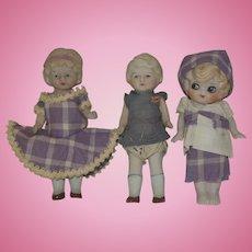"Three All Bisque 6"" Dolls - Japan"