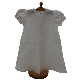 Vintage Embroidered, Square Neck White Baby Gown